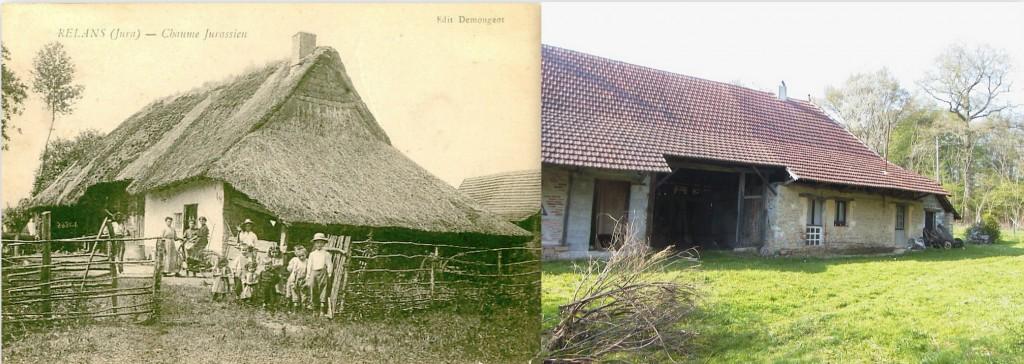 Maisons de la Bresse comtoise (jurassienne). A gauche, maison de Relans (photo communiquée par Marie-Hélène BLONDE). A droite, la maison de mes ancêtres JEANDOT, SIMERAY et PROST, sise rue des Promeneurs à Chaumergy (A. GAGNIEUX 2002).