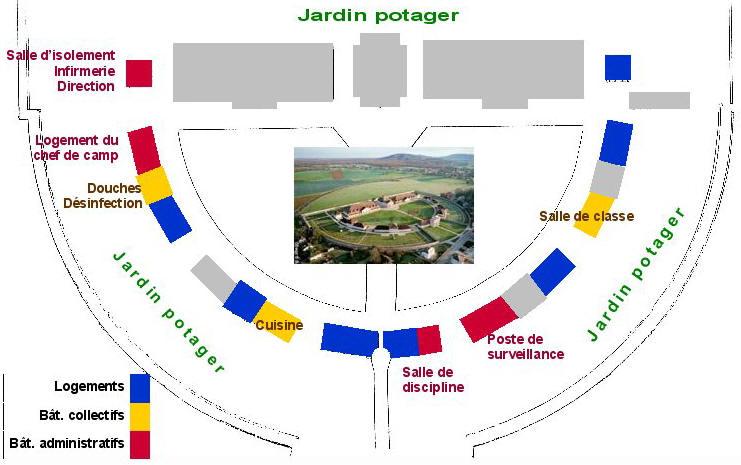 Plan du camp d'Arc-et-Senans entre 1941 et 1943