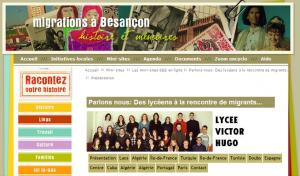 100 témoins 100 écoles au lycée Victor Hugo de Besançon - Les contributions des élèves hébergées par le site Migrations à Besançon