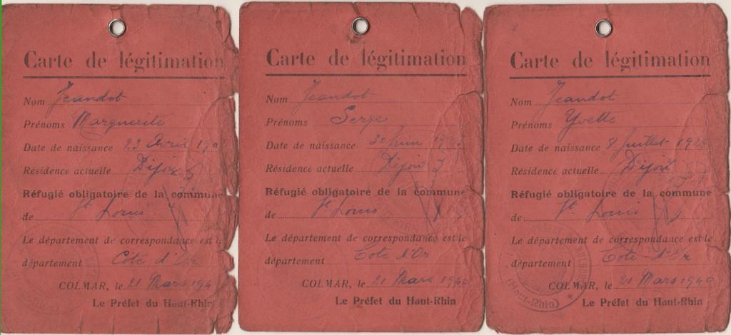 """Au verso : """"Réfugié obligatoire du Département du Haut-Rhin"""""""